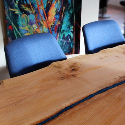 Slab live edge river table