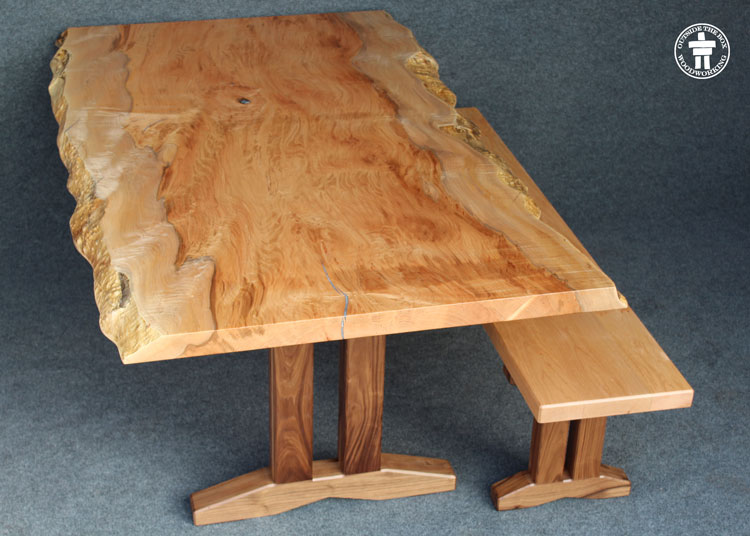 Maple table with bench