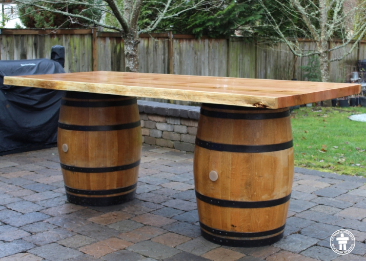 Wine barrel patio table