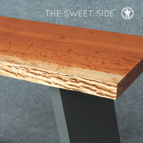 Live edge slab top console table