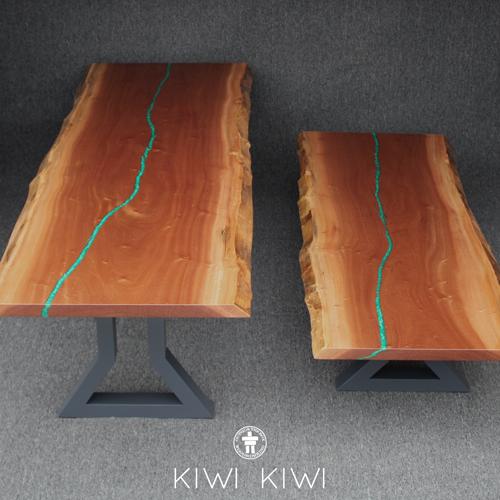 Custom live edge coffee and dining table