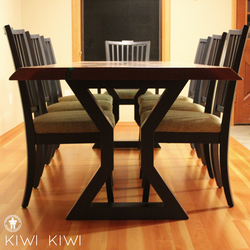 Custom dining table with Bassett chairs