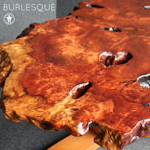Burl organic edge coffee table