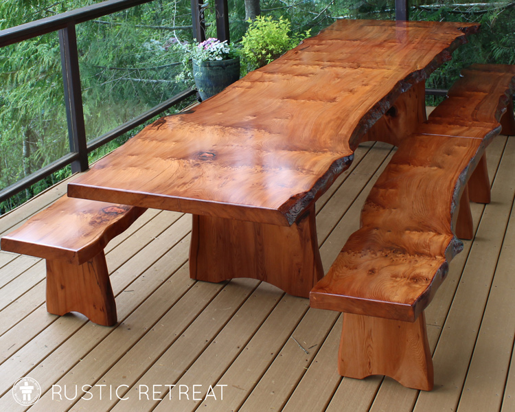 Live edge patio dining table