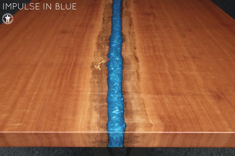 Custom slab dining table with blue