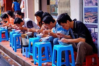 Group Eating Together_Street Food_Sidewalk Blog