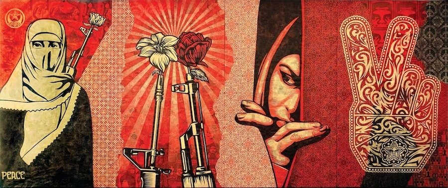 OBEY MIDDLE EAST MURAL, 2009, Mixed media stencil collage on canvas, Photo: Obey Giant Art.