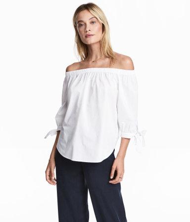 OFF SHOULDER - Off shoulder white blouse