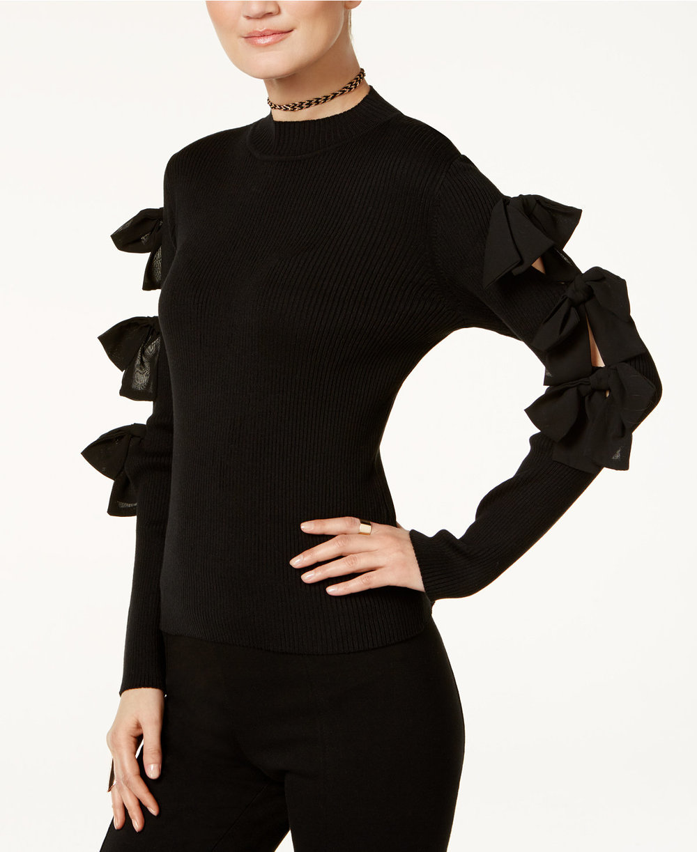 BOW KNITS - Bow sleeve sweater