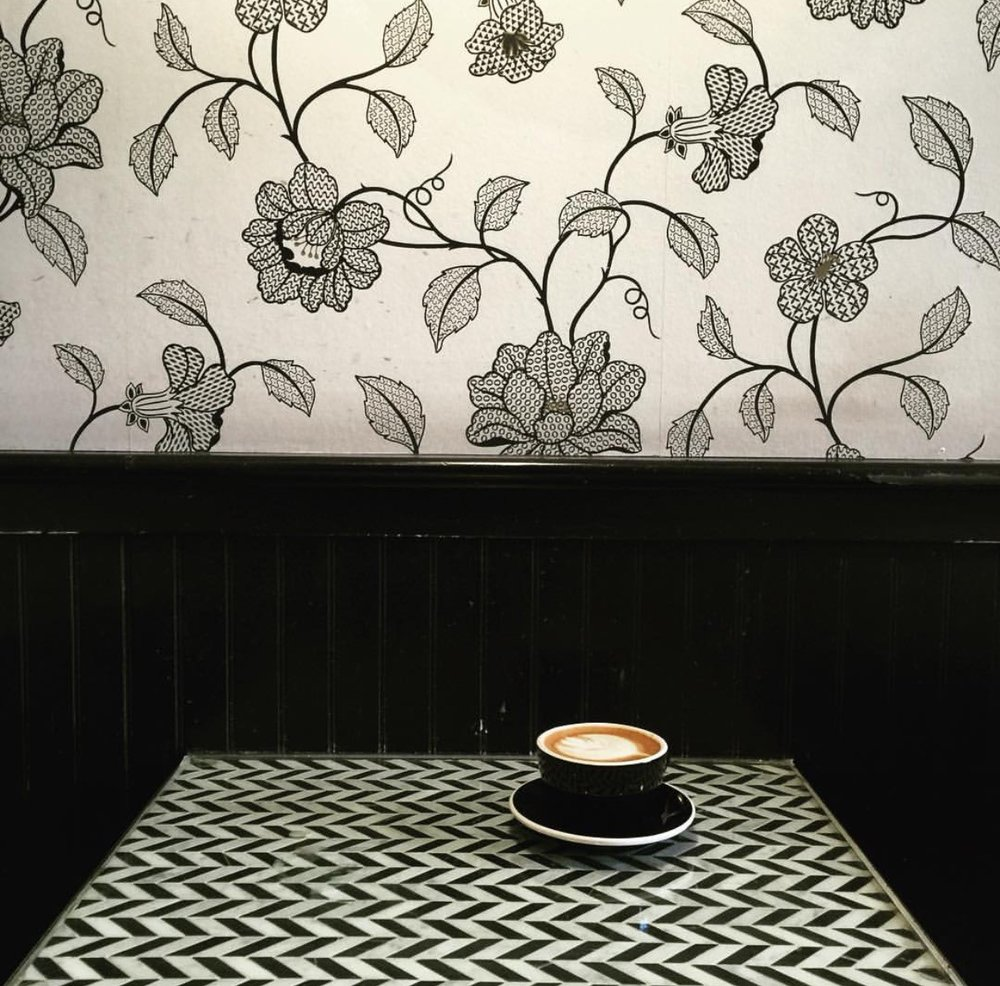 JANE ON FILLMORE - Ok, so another  wallpaper background coffee spot but hey it is for Instagram! I love there black & white themed wallpaper and tables as well as there coffee mugs. I ordered a cappuccino here, but my husband ordered an iced coffee which was perfect for a warm day in the city, although he was too busy drinking it (and wasn't picture worthy anyways) so it's not pictured above. They also do some yummy brunch treats like avocado toast or salads if you are ever in the area.