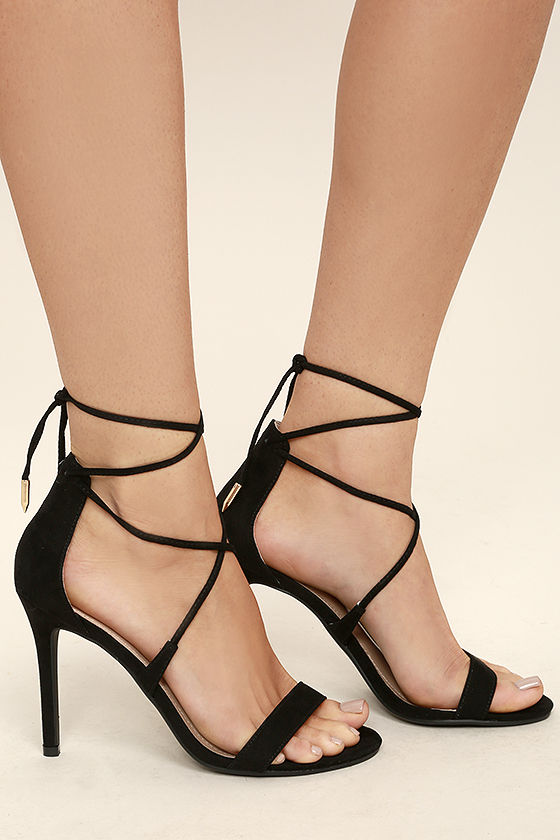 BLACK HEELS  - AIMEE SUEDE LACE UP HEELS