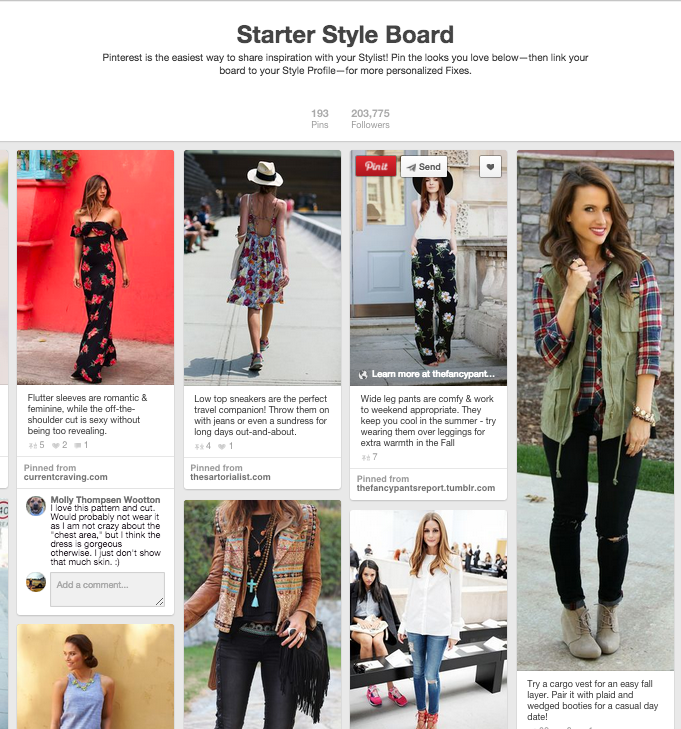 PIN YOUR STYLE - For you Pinterest addicts! A fun way for your stylist to get to know you & your style better, is to create a Pinterest board, link it to your account & pin all your favorites from our Stitch Fix board, this way your stylist can hand pick items to your style & preferences. You can be sitting on your sofa, or waiting for a coffee while pinning your favorites to your Stitch Fix board. Super easy right? You can even mention it in your note, so your stylist will find you the same item or similar pieces according to your needs & wants! Have fun pinning away! That's the perks in having your own personal stylist!