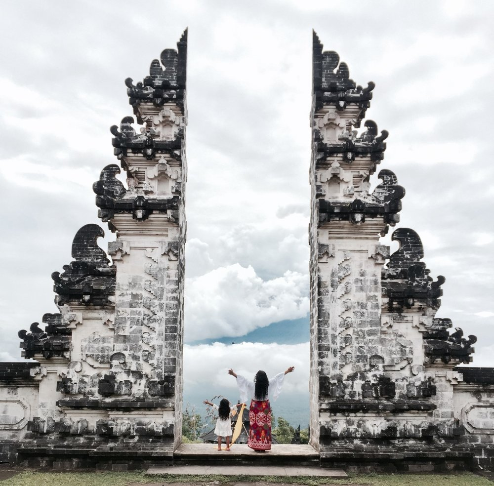 PURA LEMPAYUNG TEMPLE  - Lempuyang Temple, locally referred to as Pura Lempuyang Luhur, is one of Bali's oldest and most highly regarded temples, on par with Besakih (aka the 'mother temple' of Bali)The walk up leads to views of the Mount Agung Volcano.