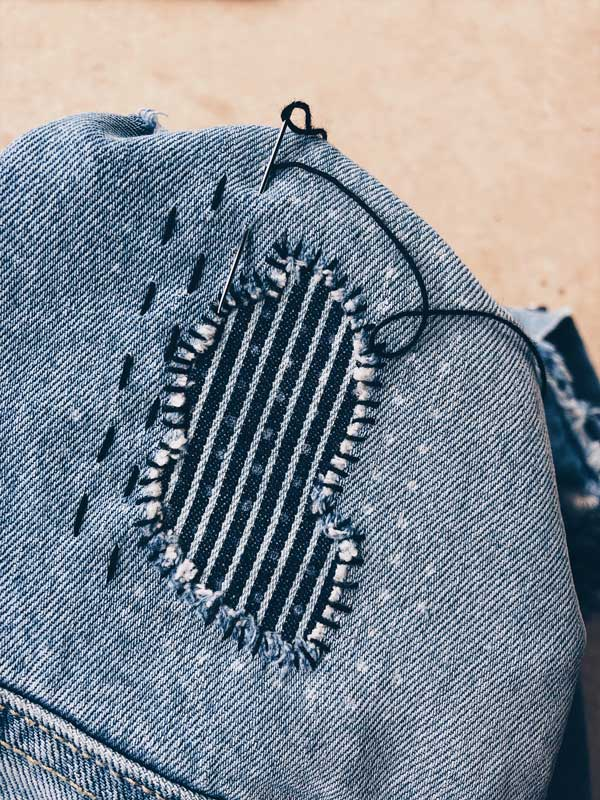10. Running Stitch - Make the most of your long sashiko needle by weaving a running stitch through the fabric multiple times before puling through entirely.