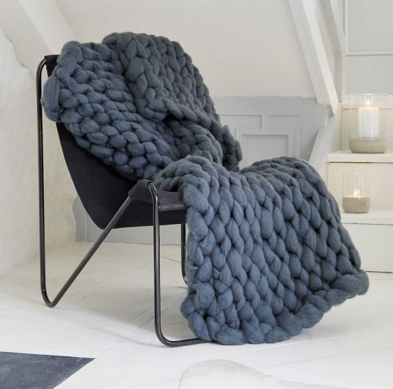 Available to purchase at Nordic House -  https://www.nordichouse.co.uk/super-chunky-knit-blanket-graphite-p-3157.html