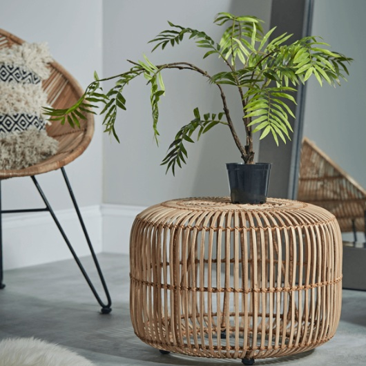 Small Flat Rattan Side Table