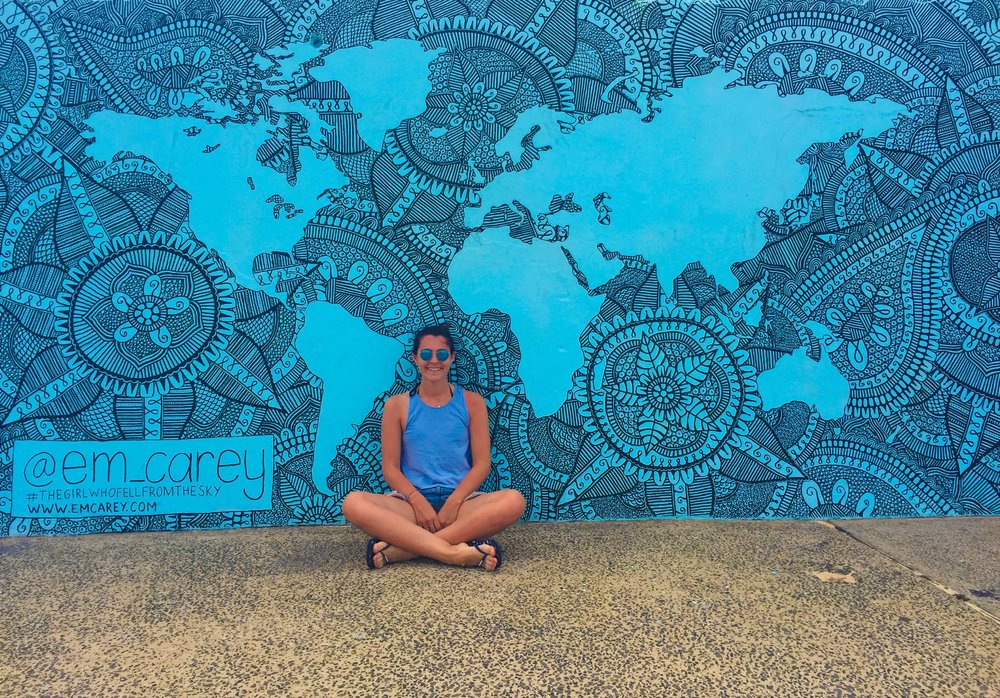 Mural at Bondi Beach by Emma Carey. Follow her incredible story on Instagram @em_carey.