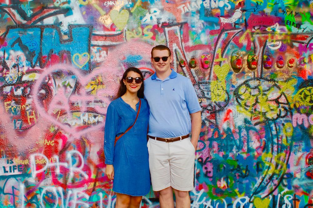 Can you spot the A+S graffiti?! It was already painted on the John Lennon Wall & seeing it made our day. Maybe it's a sign?!