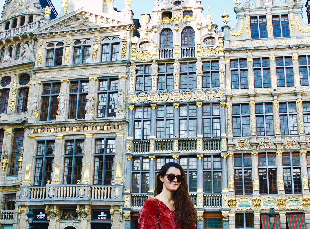 Brussels, Belgium 11.05.17   When the architecture is far prettier than your outfit...oh well! Staying cozy in Brussels with my chenille sweater.  Shop my top picks here!