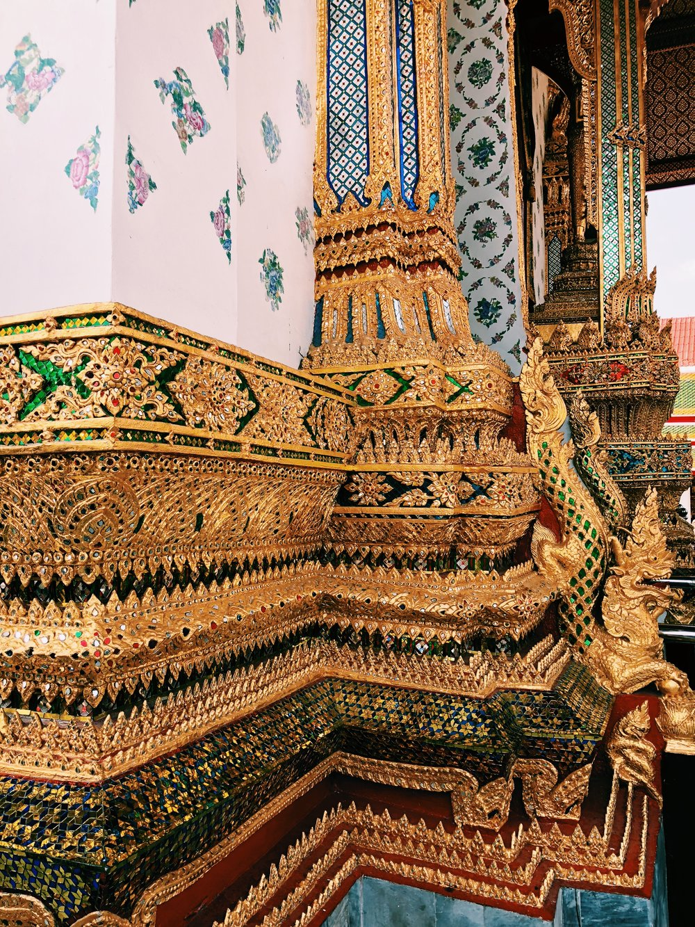 The detail and color of the temples in the Royal Palace are incredible. This kind of elaborate decoration can be found all throughout the city.