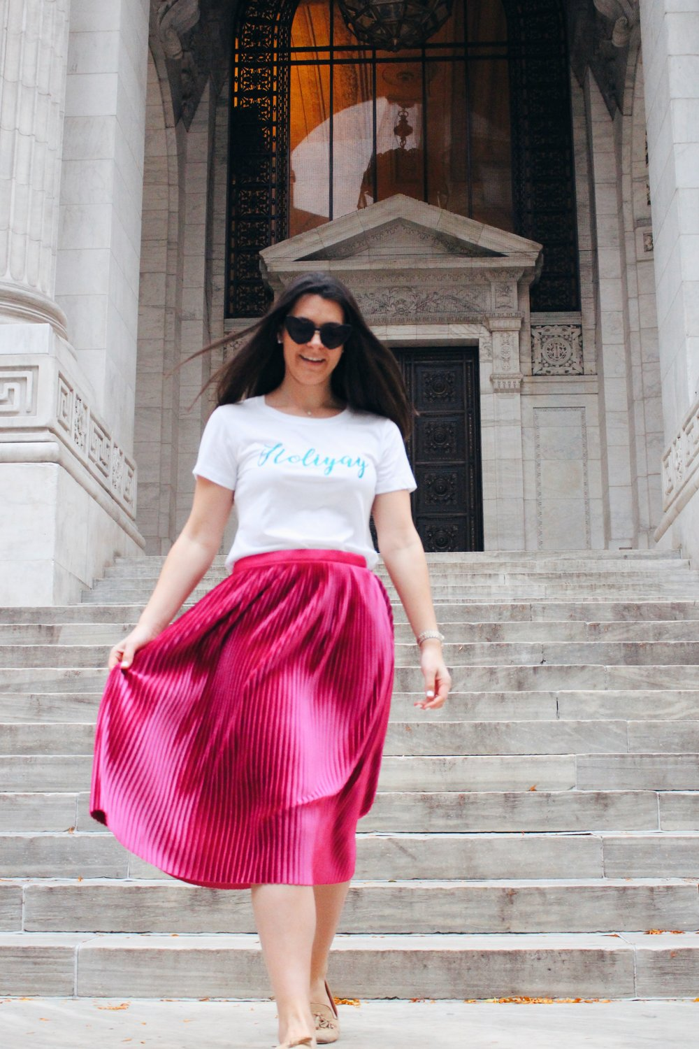 BBxCollection t-shirts  (ask me for a discount code!),  Halogen Pink Pleated Velvet Skirt  ($79),  Scotch & Soda Pink Pleated Skirt  ($125),  Heart sunnies  ($10)