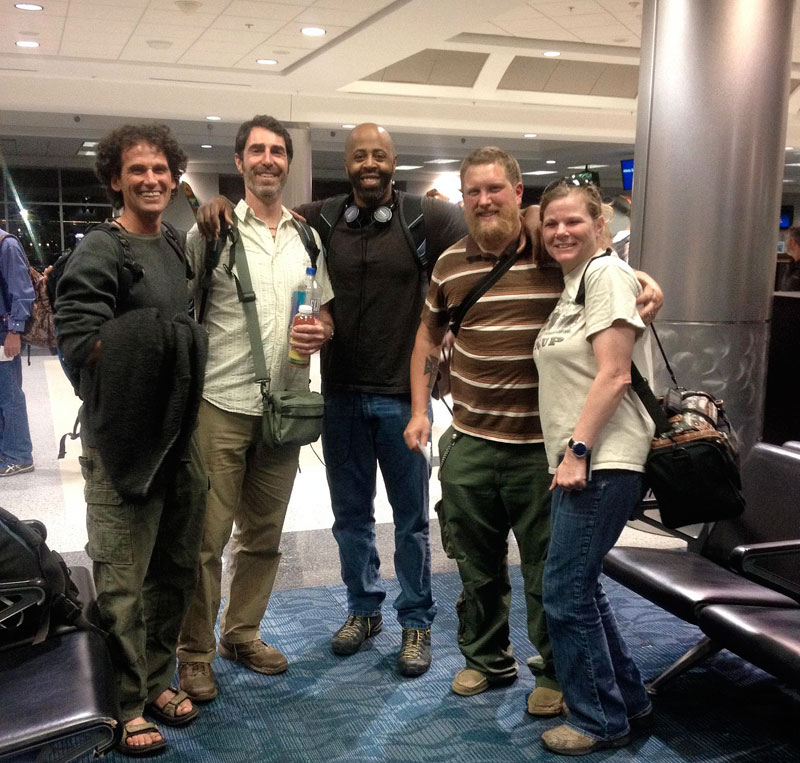 Someof the ALONE cast in Atlanta Airport, ready to fly to Patagonia! From left to right Dave Neesia, Robert Weir, Britt Ahart, Zach Fowler (winner of season 3), and the photo was taken by one of the stars of season 3 Callie North.
