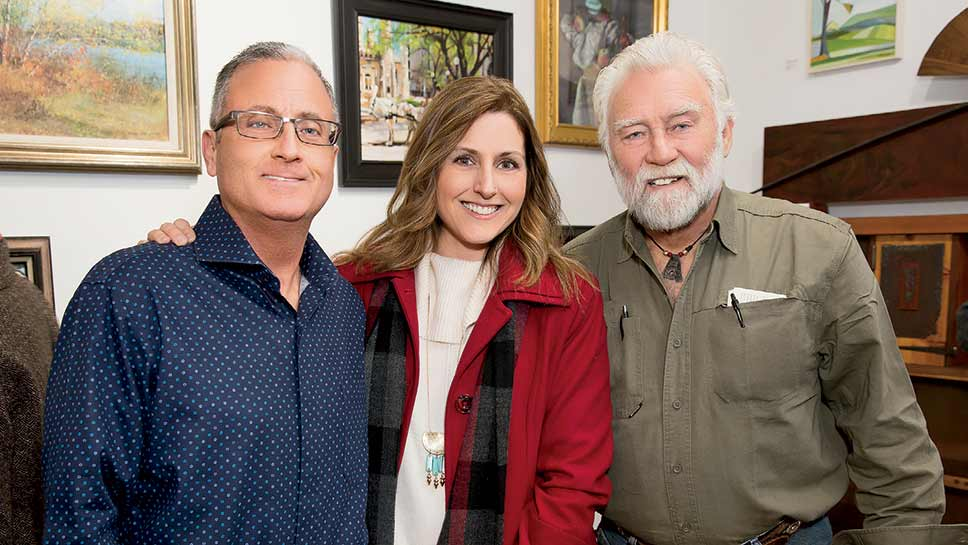 Steve and Rebecca Stahr with woodworker artist John Hatlestad at the opening night reception of The Gallery in Lake Forest, IL.