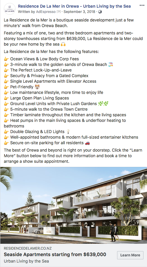 Facebook Ad for Residence de la Mer - Executed by Glasshouse Digital - Digital Marketing Agency based in Auckland