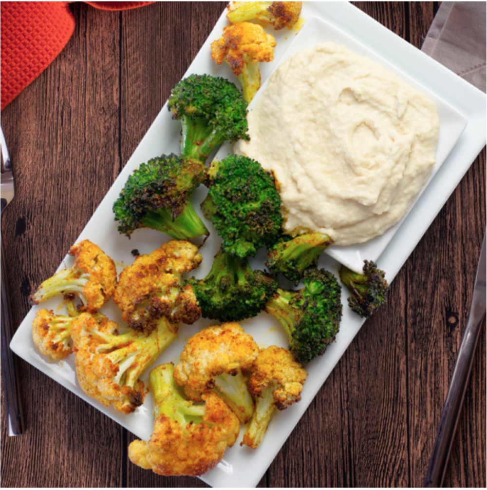 Fuel Meals Curried Cauliflower and Broccoli with Humus