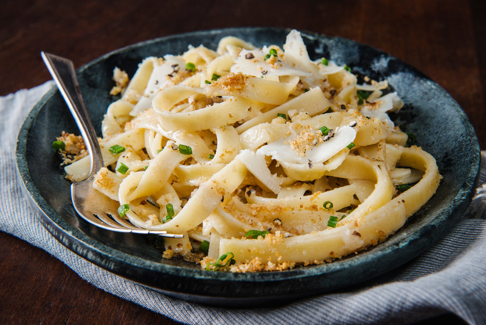 Culture Magazine Fettuccine with Brown Butter, Walnuts, and Shaved Goat Cheese
