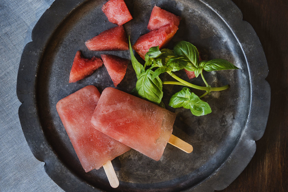 Watermelon-Basil Popsicles