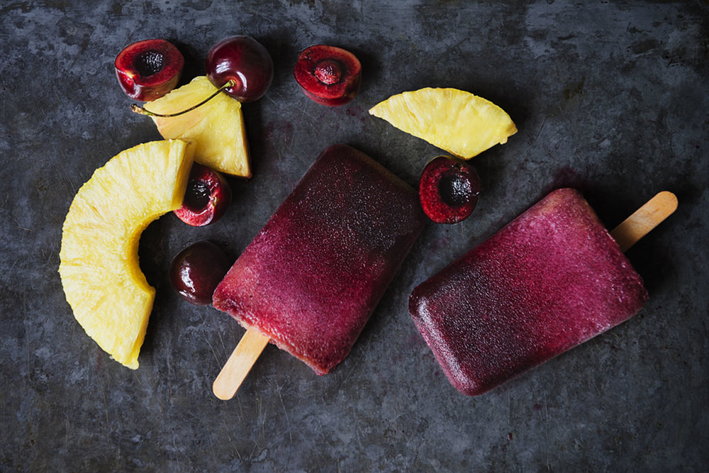 Black Cherry-Pineapple Popsicles