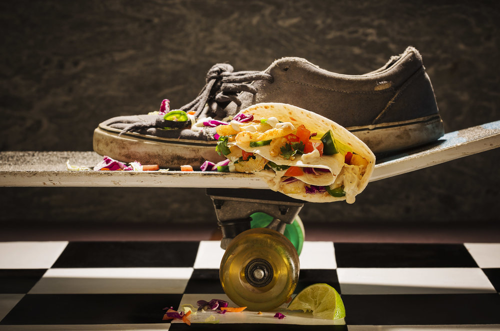 SKATEBOARD FISH TACO. HAVE WHEELS, WILL TRAVEL. CONCEPT AND FOOD SYLING: JUDI ORICK. COLIN COOKE PHOTOGRAPHY