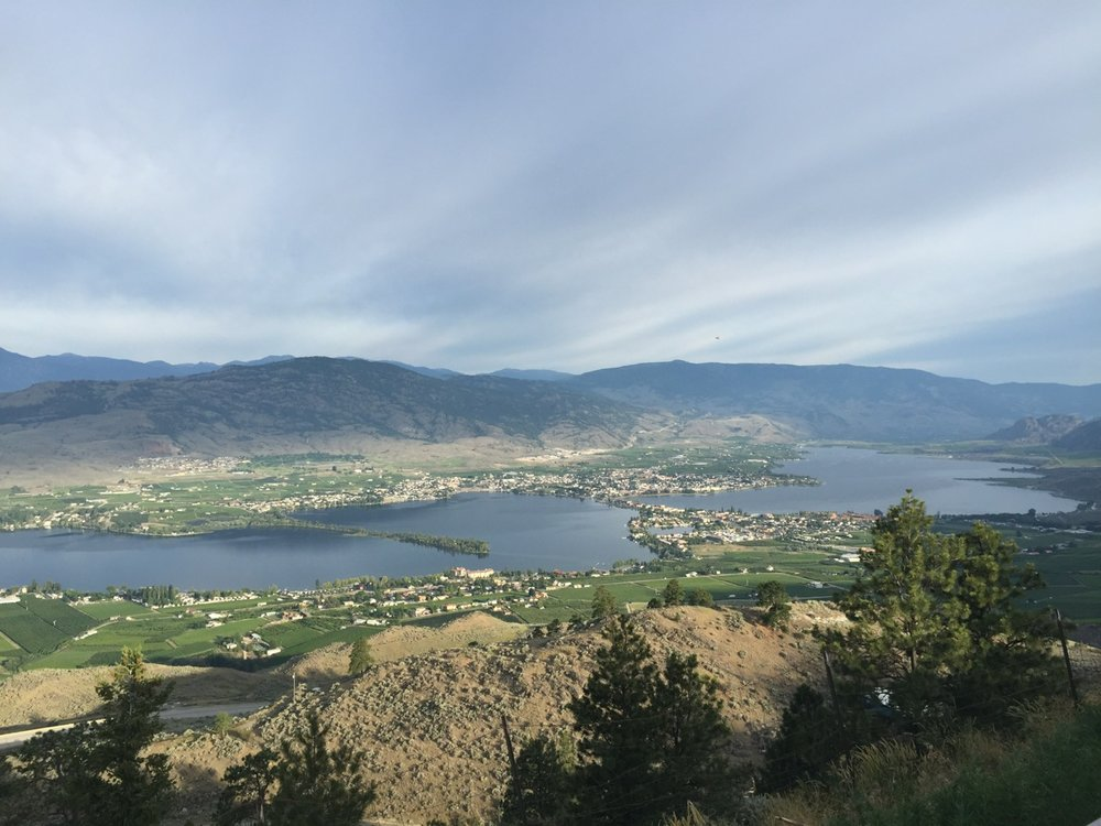 Looking back at Osoyoos as you begin the long climb out of town.