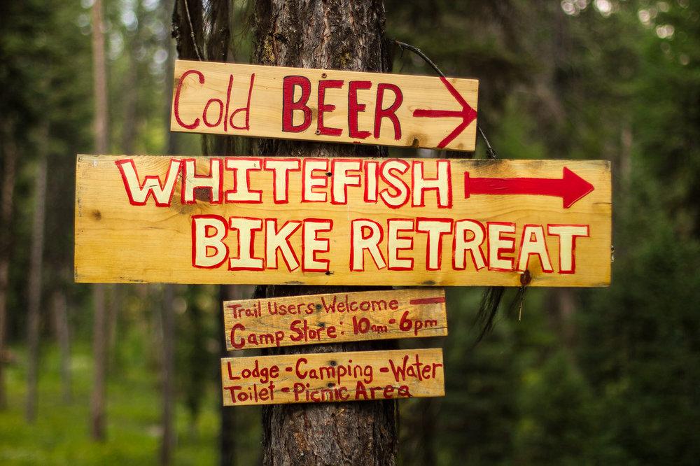 The wonderful welcoming signs of Whitefish Bike Retreat