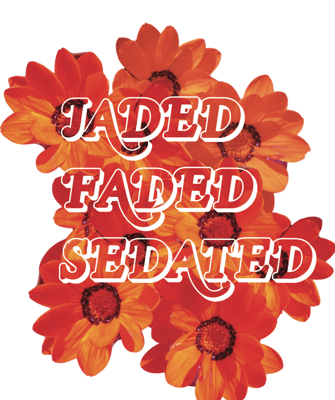 Jaded Faded Sedated. A 2016 slogan and new graphic we created which inspired our new embroidered visors.