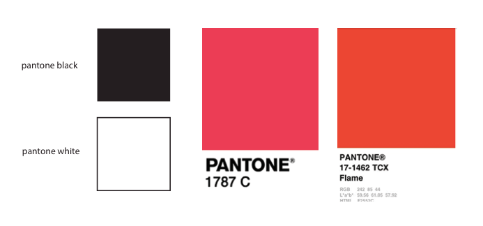 Our top Pantone colors for silkscreening our graphics on the bodies of clothing