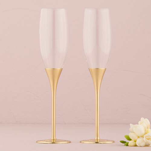 Gold Champagne Flutes With Swarovski Crystal Online Wedding Boutique