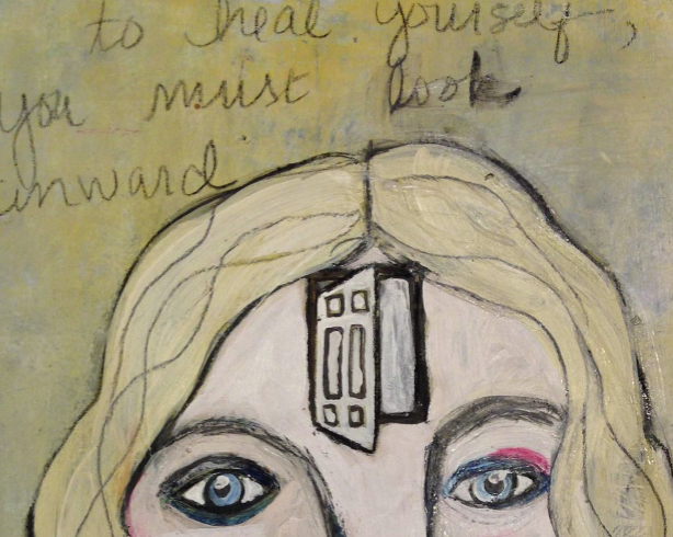 "Artwork by Kristen Rexter pairs with poem, titled ""Hoping To Find Me,"" written by a patient who participated in the U.Va. Cancer Center workshop.   Courtesy of Whistle Words"