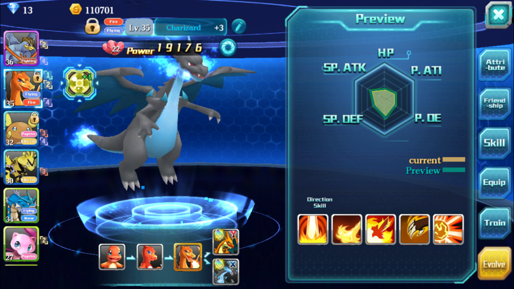 The evolution system is pretty standard. The Evolve tab shows you what level, friendship, and items you need to evolve. (Some Pokemon have multiple choices, such as Charizard X or Y.)