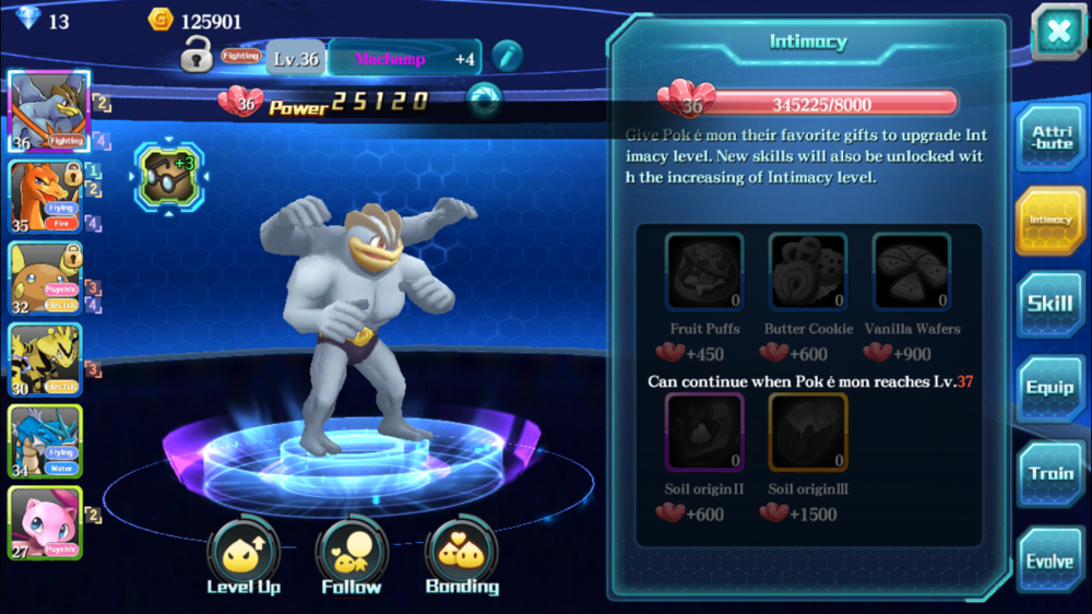 Friendship is raised using items awarded from beating missions or bought from the store. Friendship level unlocks skills, increases Power level, and allows evolutions.