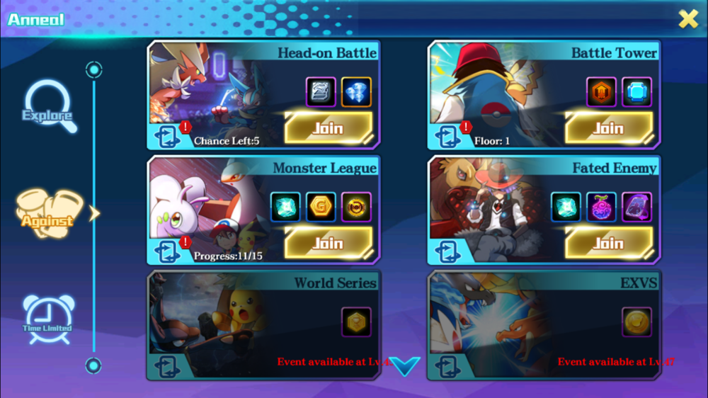 The PVP is pretty fun, but automated. Battle tower is a 'fight opponents till all of your pokemon are dead'.  Monster League works the same way, but in a Indigo League fashion.  Head-on Battles are just that,1 v 1.