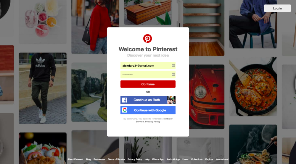 setting up a pinterest account