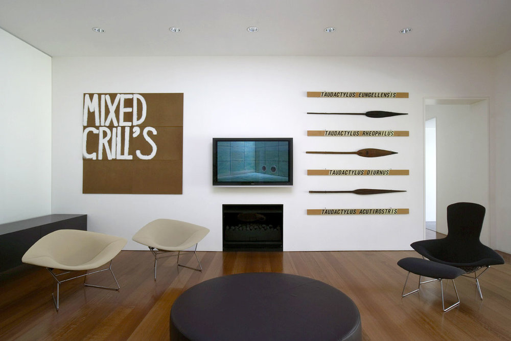 (left to right)   Robert Macpherson ,  Mayfair Mixed Grills,  1996, Acrylic on masonite   Hayden Fowler ,  White Australia , 2003, DVD 23 Minutes and 52 Seconds   Robert Macpherson ,  Lippa Lippa: Seven Frog Poems for MJ , 1988-93, Metl-stik on wood, native paddles