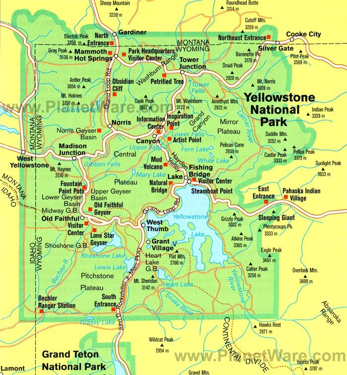 Map Yellowstone Tours