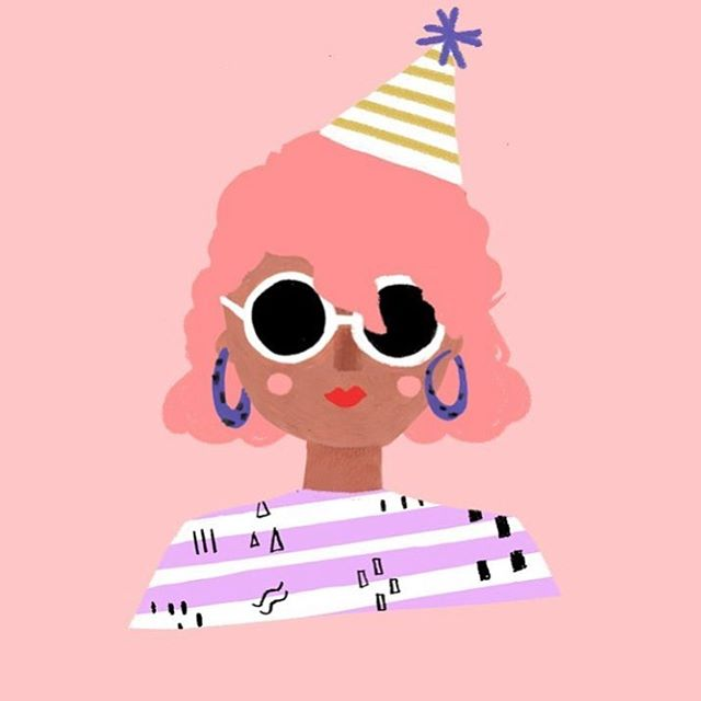 Always down for a good party. 🎉 I'm in love with this illustration by @carolynsuzuki  And all of a sudden I want pink hair.😂
