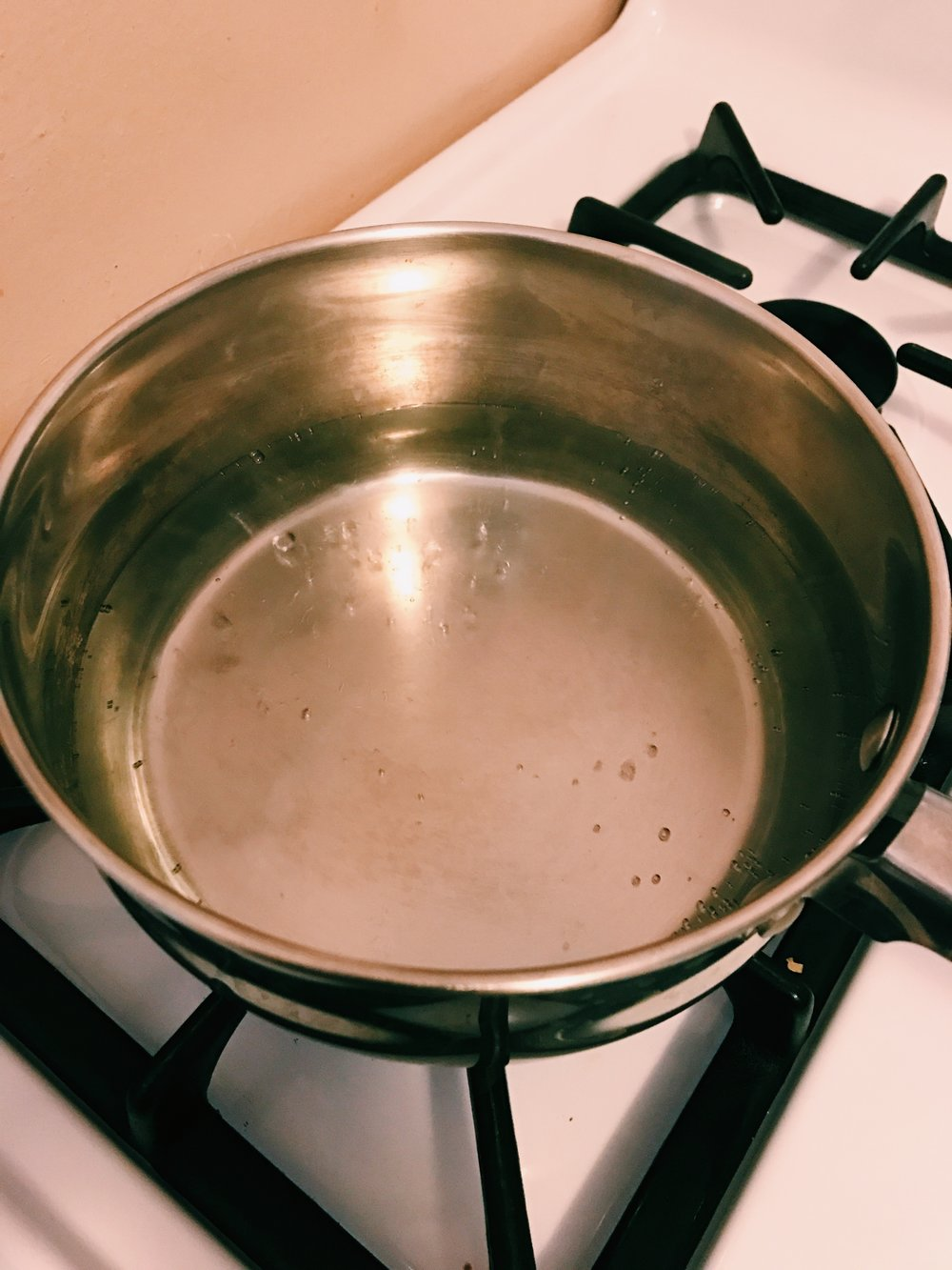 Simmering water of the Bain Marie