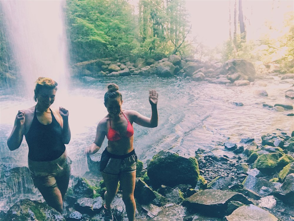 Me and Andrea dancing under Ponytail Waterfall, Oregon. We met in high school and were drawn to each other's sense of style and love of fashion. She's now a flight attendant and stops down to hang out every now and again. We have memories in New Mexico, New York City, and Oregon.