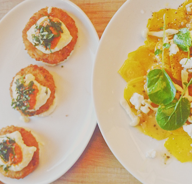 Fried Green Tomatoes and Golden Beet Carpaccio