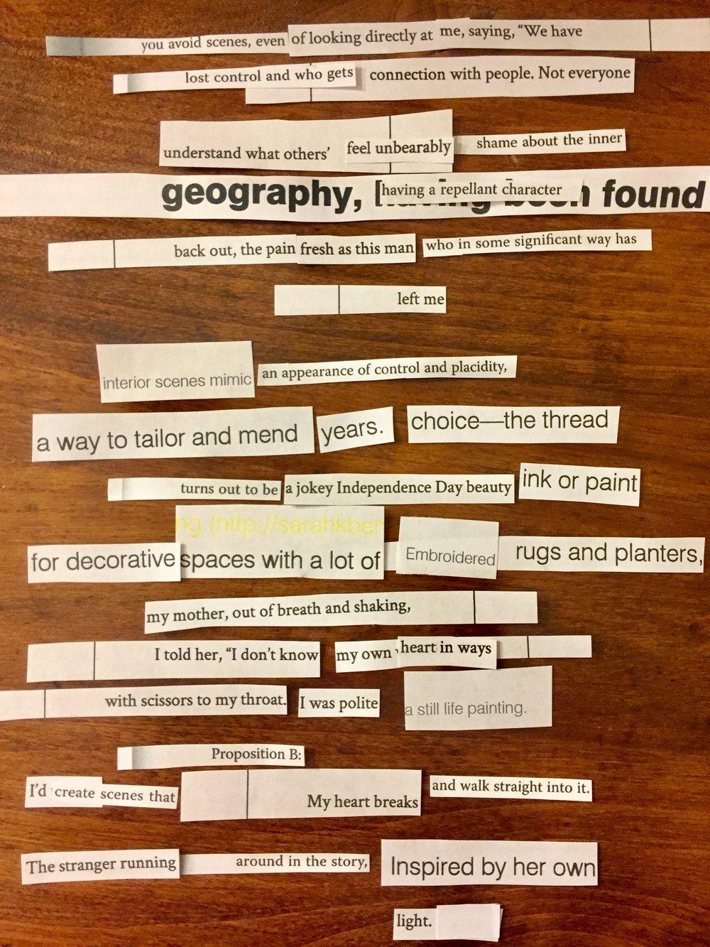 Cut Up Poetry - by Melanie Sweeney Bowen